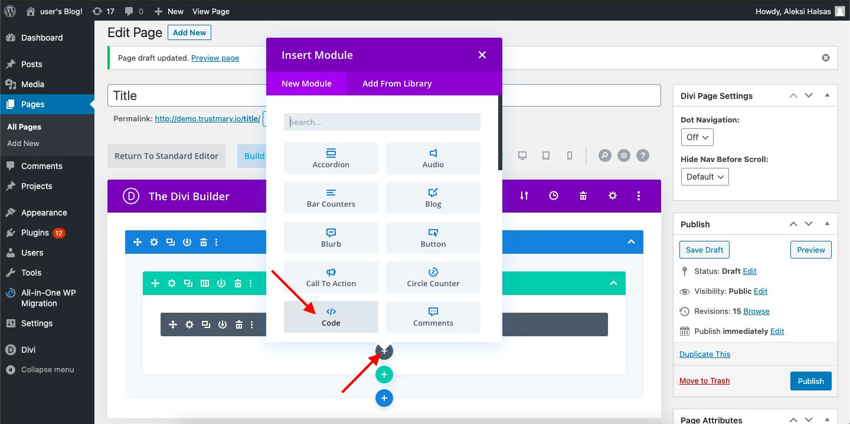 trustmary integration embed wp wordpress divi theme code