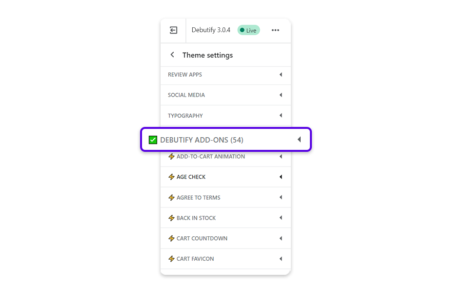 Go to Debutify Add-Ons.
