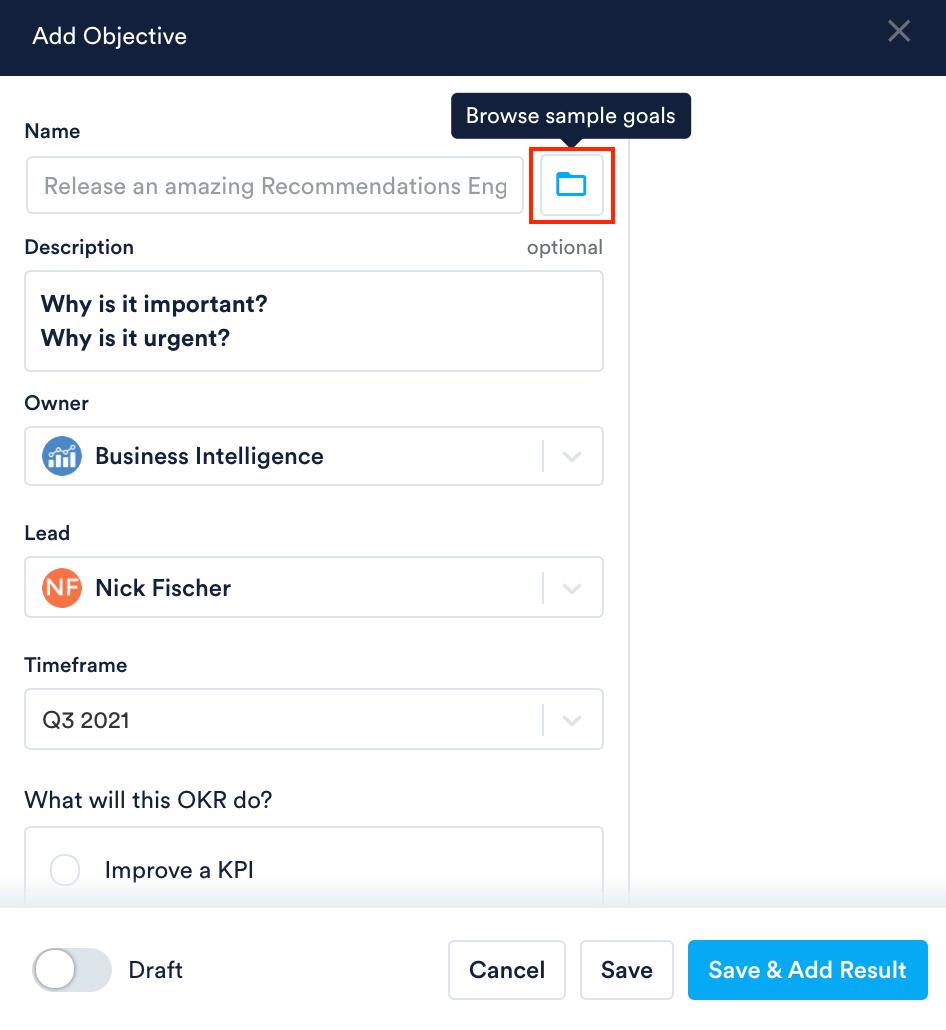 Browse sample goals folder icon