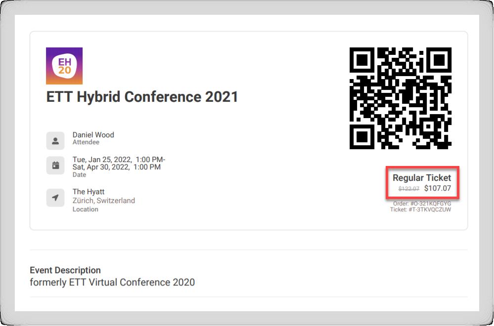 Screenshot of a Ticket PDF.