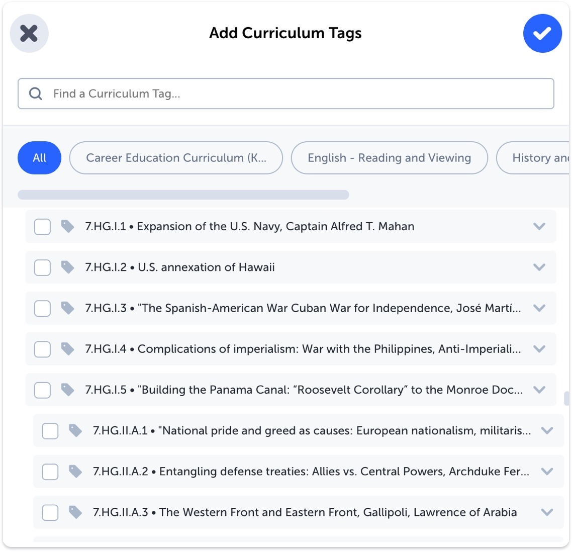 Module of list of Curriculum Tags