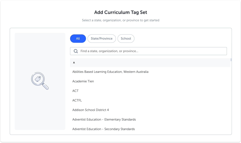 Curriculum Tag Set list menu