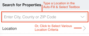 Add a Location Using the Textbox, or by Selecting Criteria