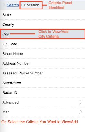 Location Search Criteria Panel