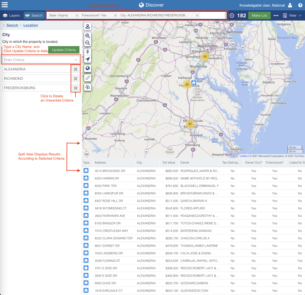 Discover Displays Results of Search Criteria Selections