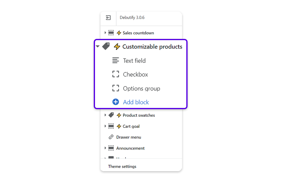 From the Product page, and click on the arrow next Customizable products to reveal the option to a text field, checkbox, or options