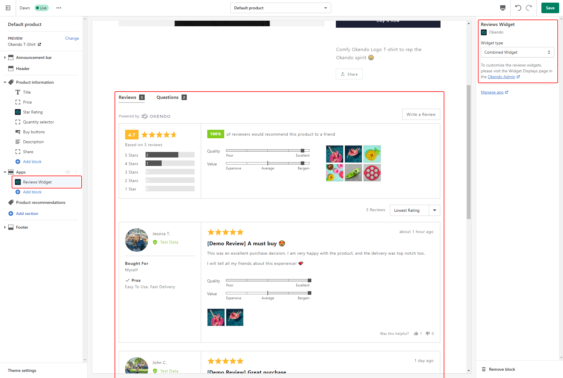Okendo's Combined Widget, featuring both Reviews and Q&A