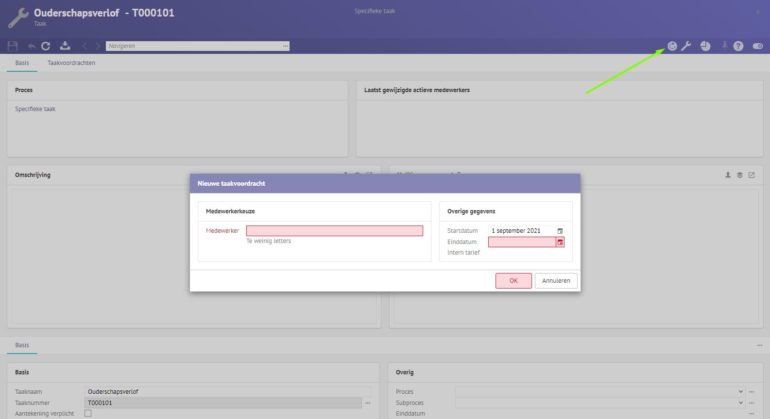 Screenshot van een nieuwe taakvoordracht