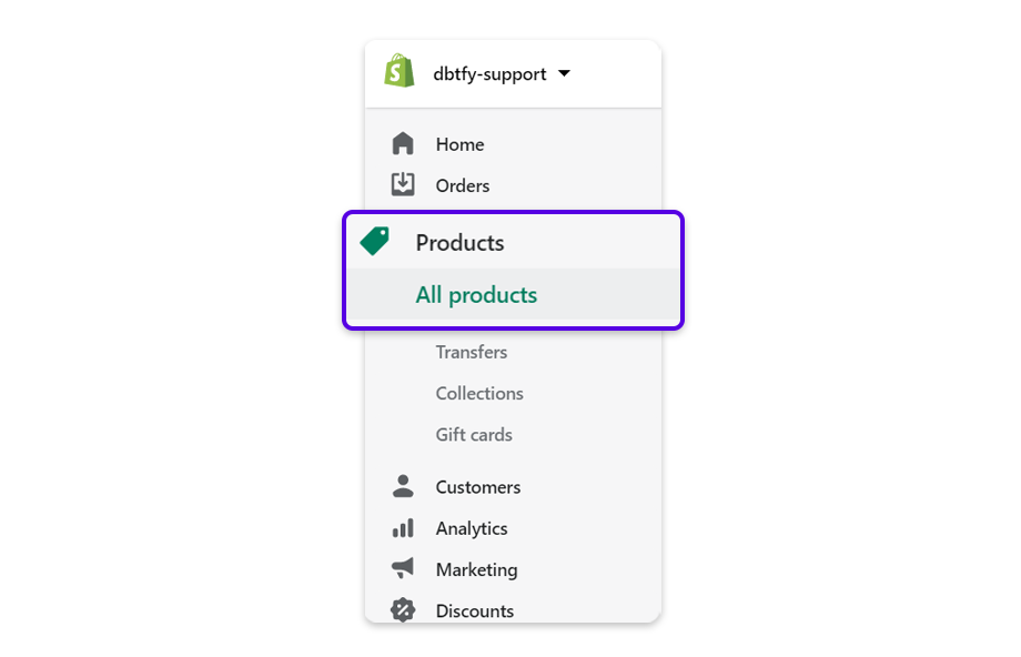 Go to your Shopify Admin and click on Products.