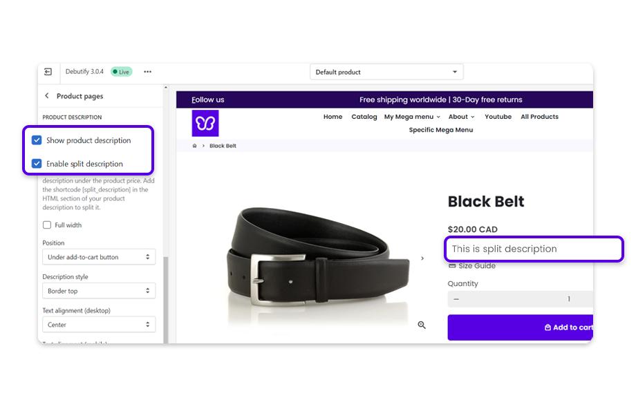 Once enabled, the product description will show as a split description.