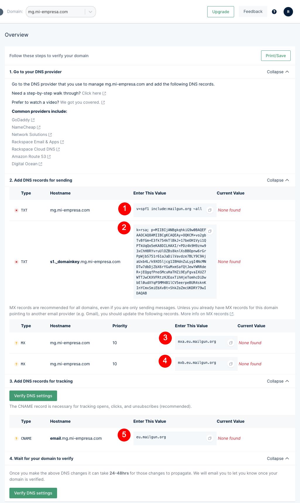 Configuración de los registros DNS del dominio