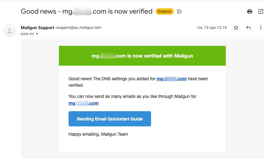 Mensaje de confirmación de la verificación del dominio