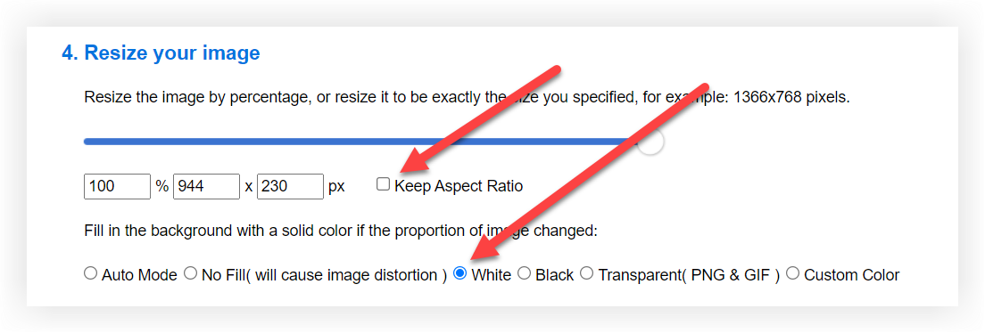 Screenshot showing the Keep Aspect Ration and White options in their preferred state.