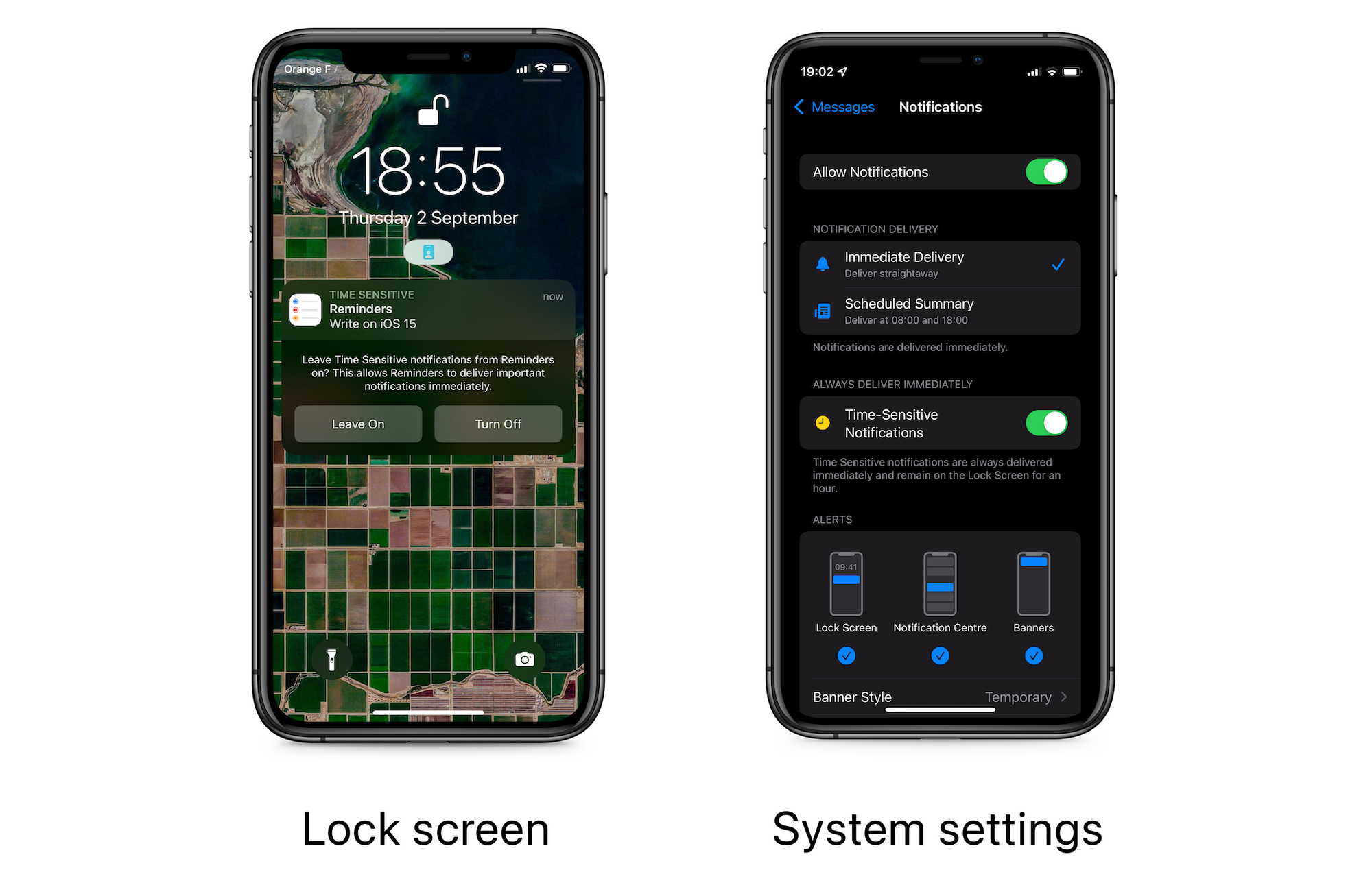 iOS time sensitive alerts settings
