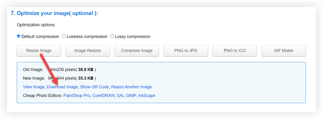 Screenshot showing the Resize Image and Download Image buttons.