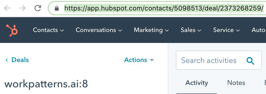 HubSpot integration for WorkPatterns smartlink example