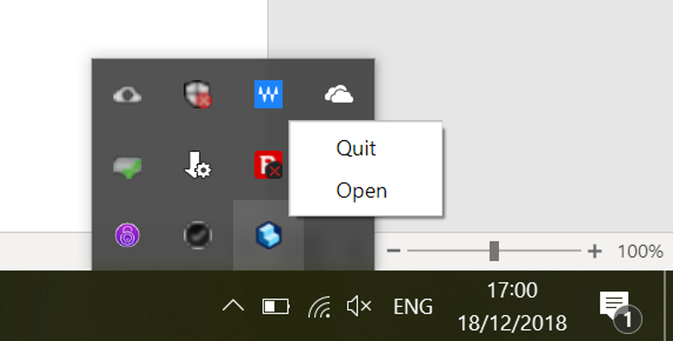 A screenshot showing where to quit or open the folder watcher on windows