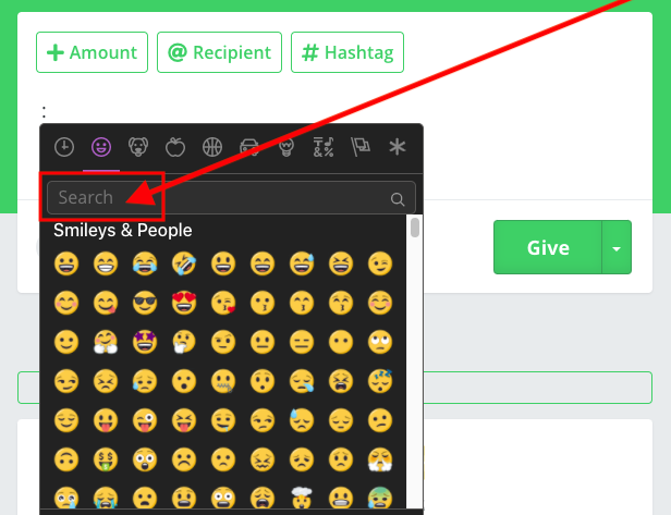 Emoji icon selections and search bar showing after clicking on the emoji icon when gibing a bonus.