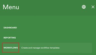 Main menu showing workflows