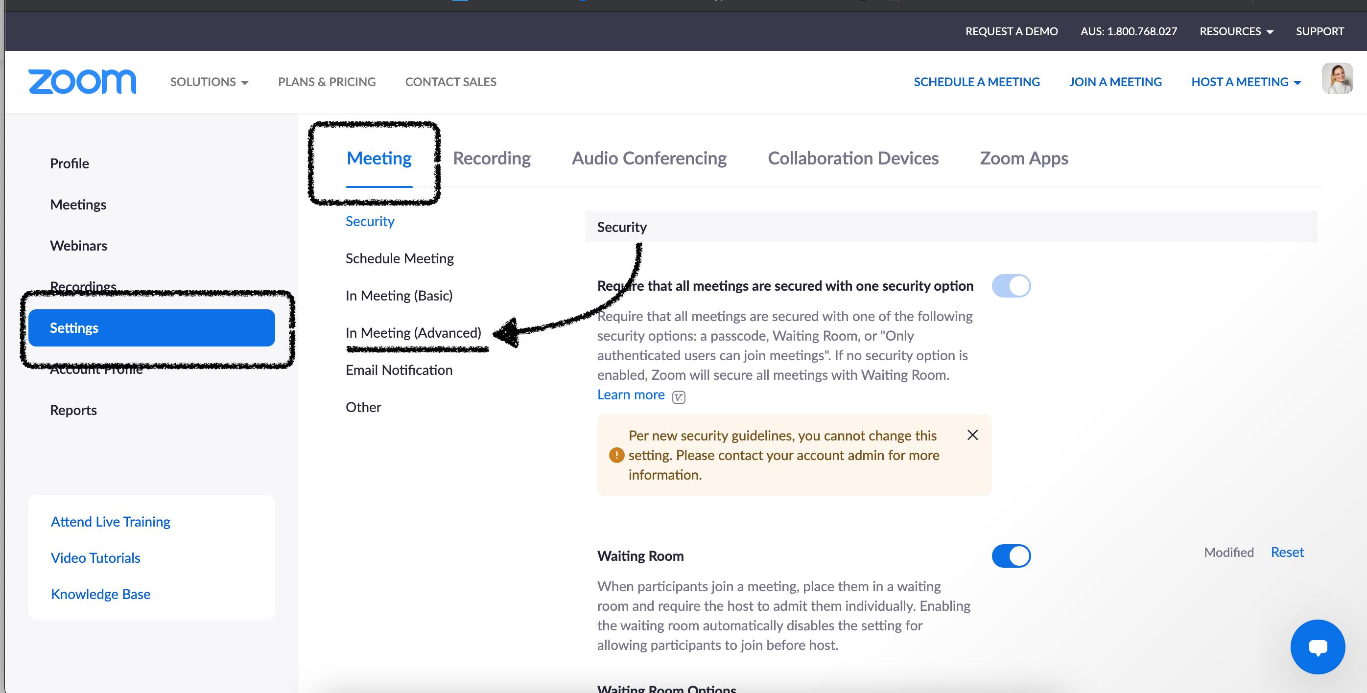 Zoom Web Portal - Meeting Settings
