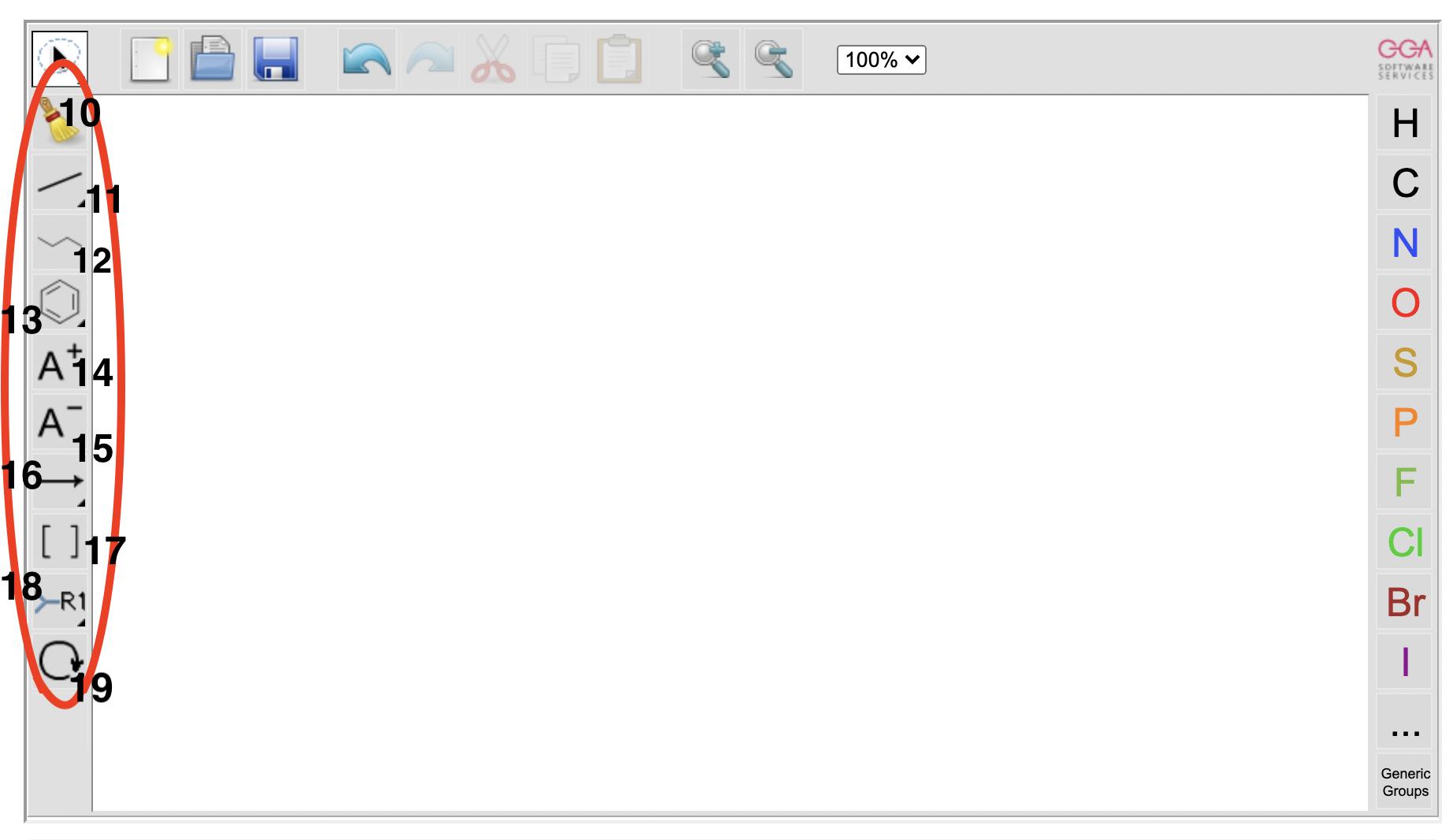 A screenshot of the left toolbar