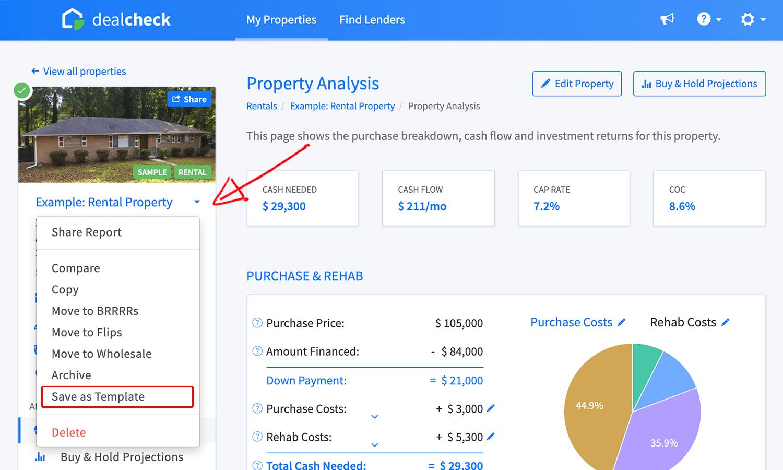 Saving a property as a template