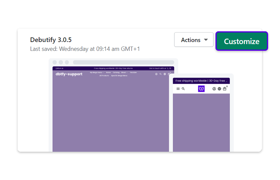 Select your 3.0.5 Theme, and click on Customize.