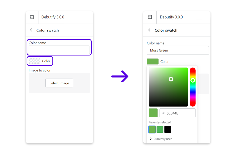 Enter the color name and tap the checkered icon to choose a color from the HTML color chart.