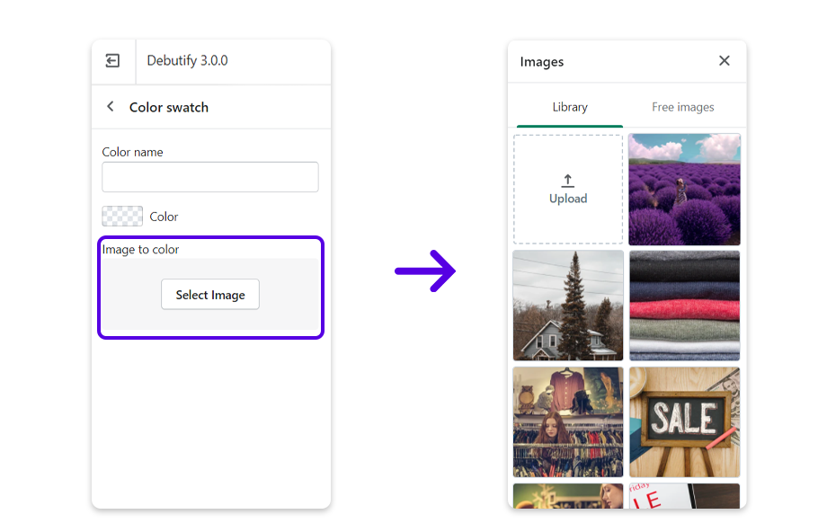 You have an option to choose either a color shade from the HTML color chart or an image from your device, the library or free images. Click Select image.