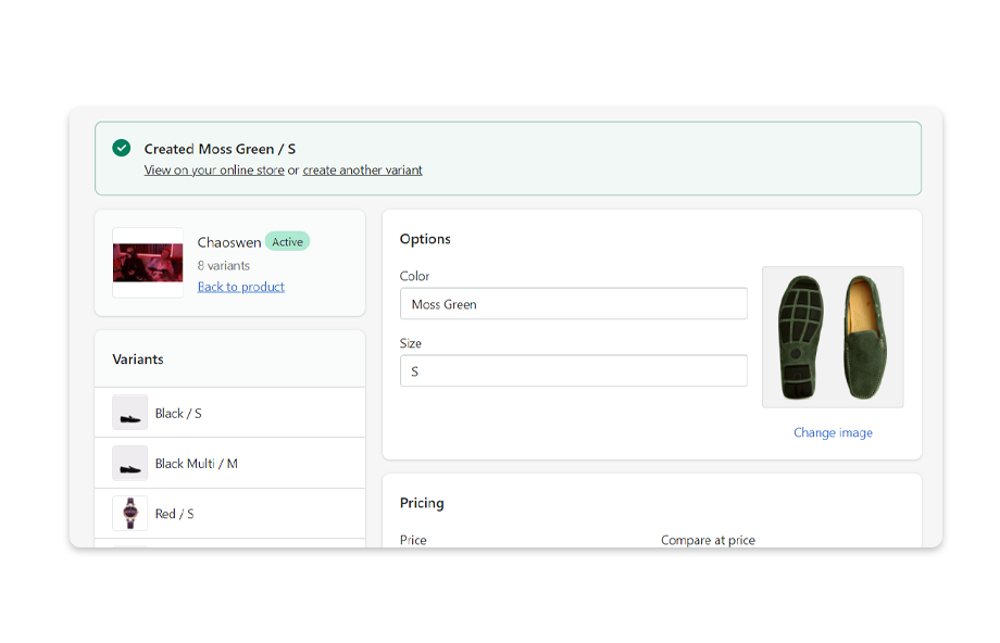 After saving, you may view the new color swatch on the product page.