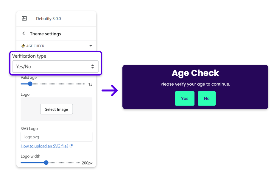Choose Yes/No option enables you to check if the users meet the required valid age for your site.