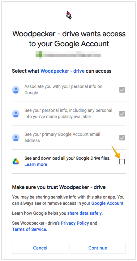 Image with the access page from Google