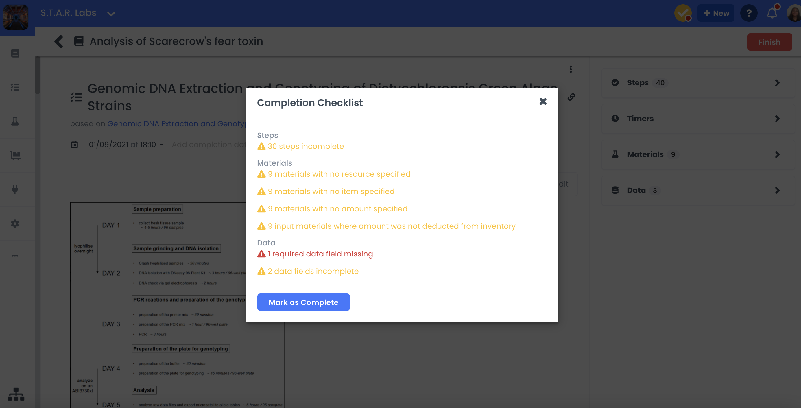 A screenshot showing what the completion checklist looks like
