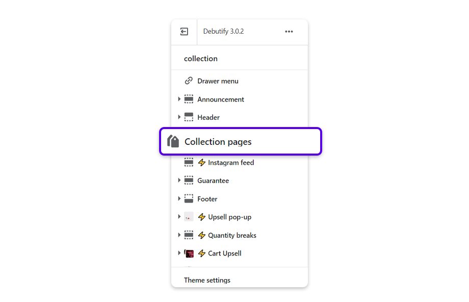 Go to Collection pages and click on Collection pages.