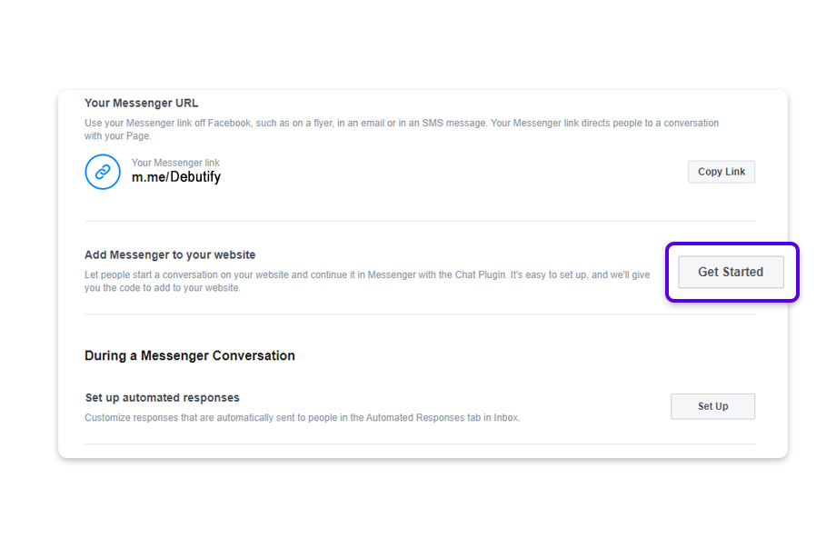 In the Add Messenger to your website section, click on Get Started.
