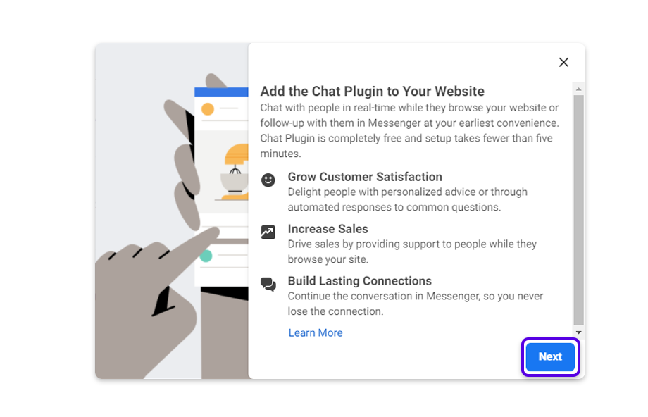 Read about the Facebook chat plugin and click on Next.