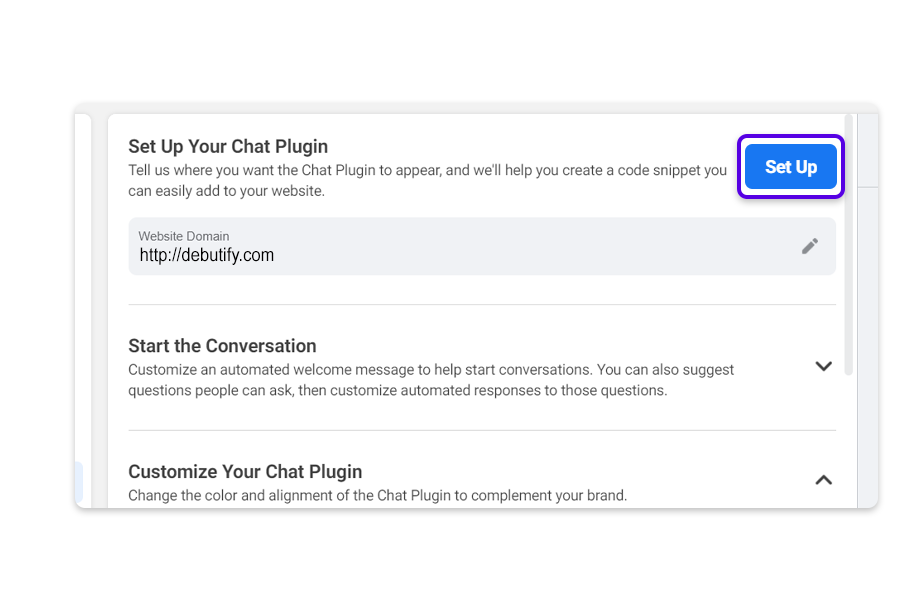 Click on Setup and customize your Chat plugin.
