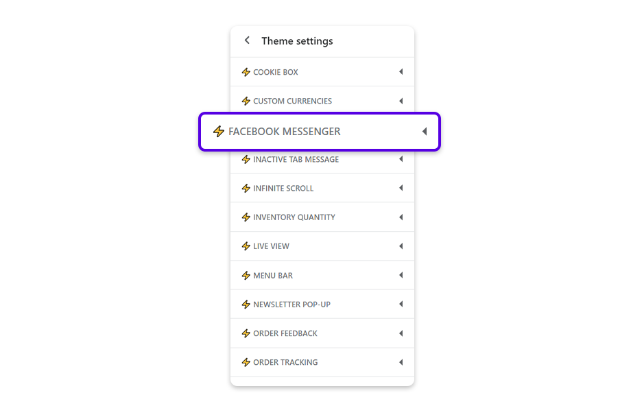 Go back to the web browser tab where you opened Shopify admin, click on Theme Settings, and click on Facebook Messenger to edit the code.
