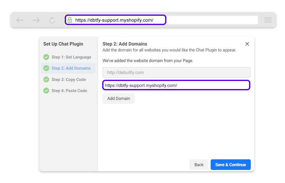 Copy your website domain and paste it on the Website Domain field.