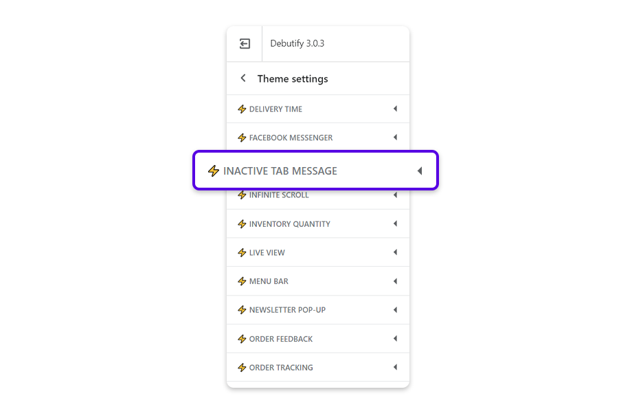 Go to settings Theme settings and select the Inactive tab message add-on.