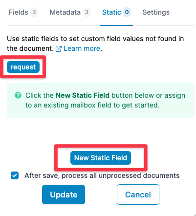 Click on an existing field or create a new one
