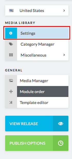 settings button in sidebar highlighted
