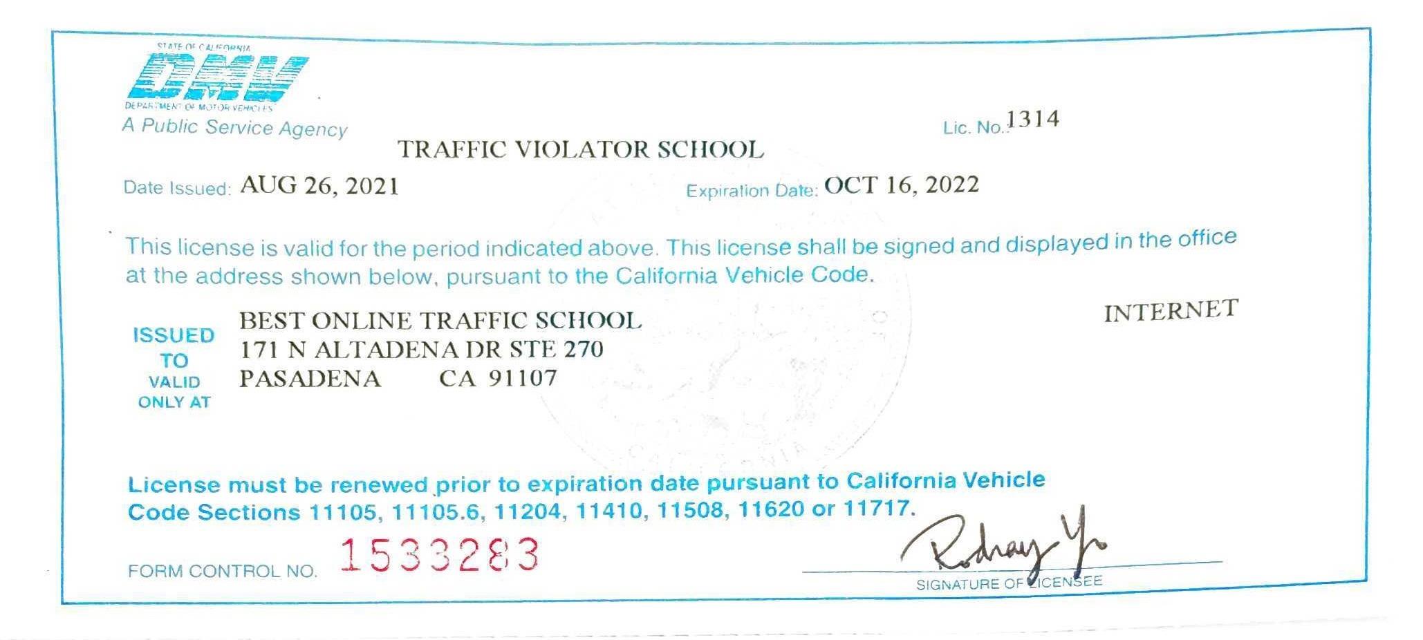Traffic Violator School License