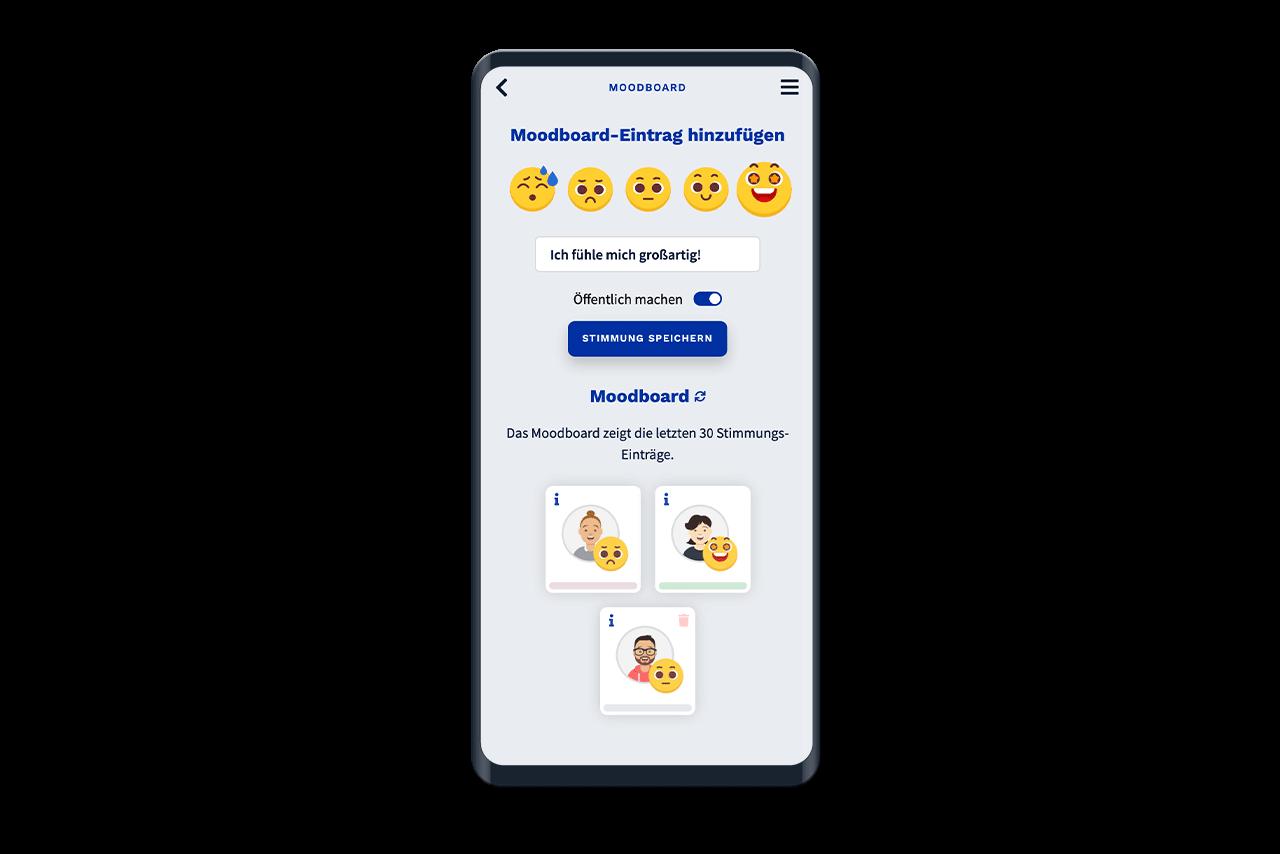 Im Moodboard können Benutzer*innen Ihre aktuelle Stimmung verfassen.
