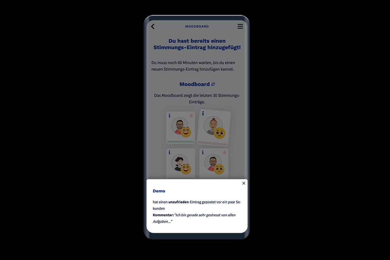 Stimmungs-Einträge können in der App geöffnet werden, um Details zu sehen.