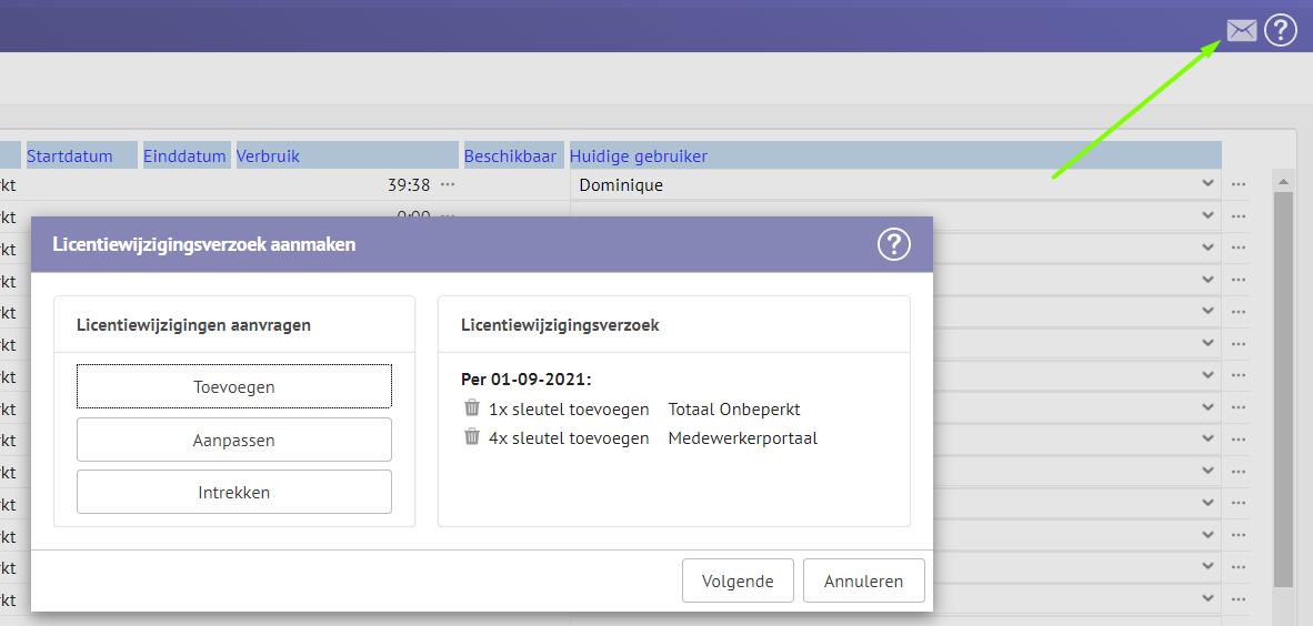 Screenshot van het Licentiewijzigingsverzoek