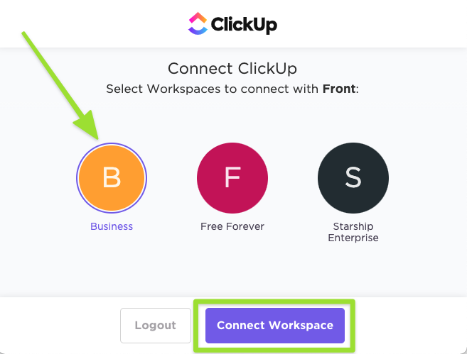 Screenshot of the Workspace selection page to connect with Front