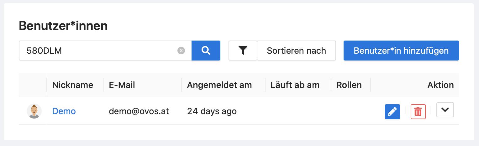 In der Benutzer*innen-Liste können Sie gezielt nach zusätzlichen Infos suchen.