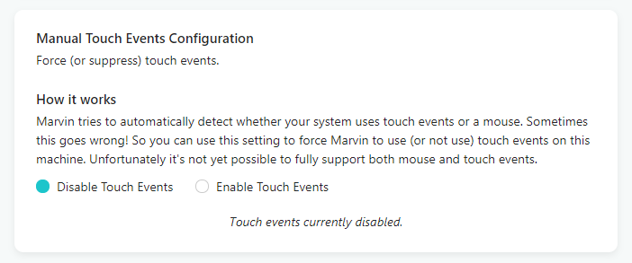 Disabling touch events