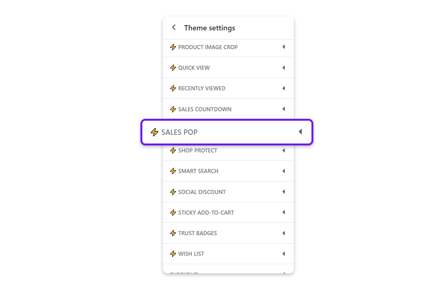Navigate Theme Settings and tap Sales pop.